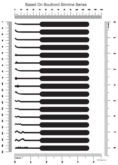 Diferentes ganzuas y sus dimenciones nifty pinterest for Lock pick rake template