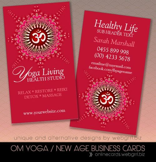 Ijustmade Om Yoga Pink Energy Healing New Age Business Cards