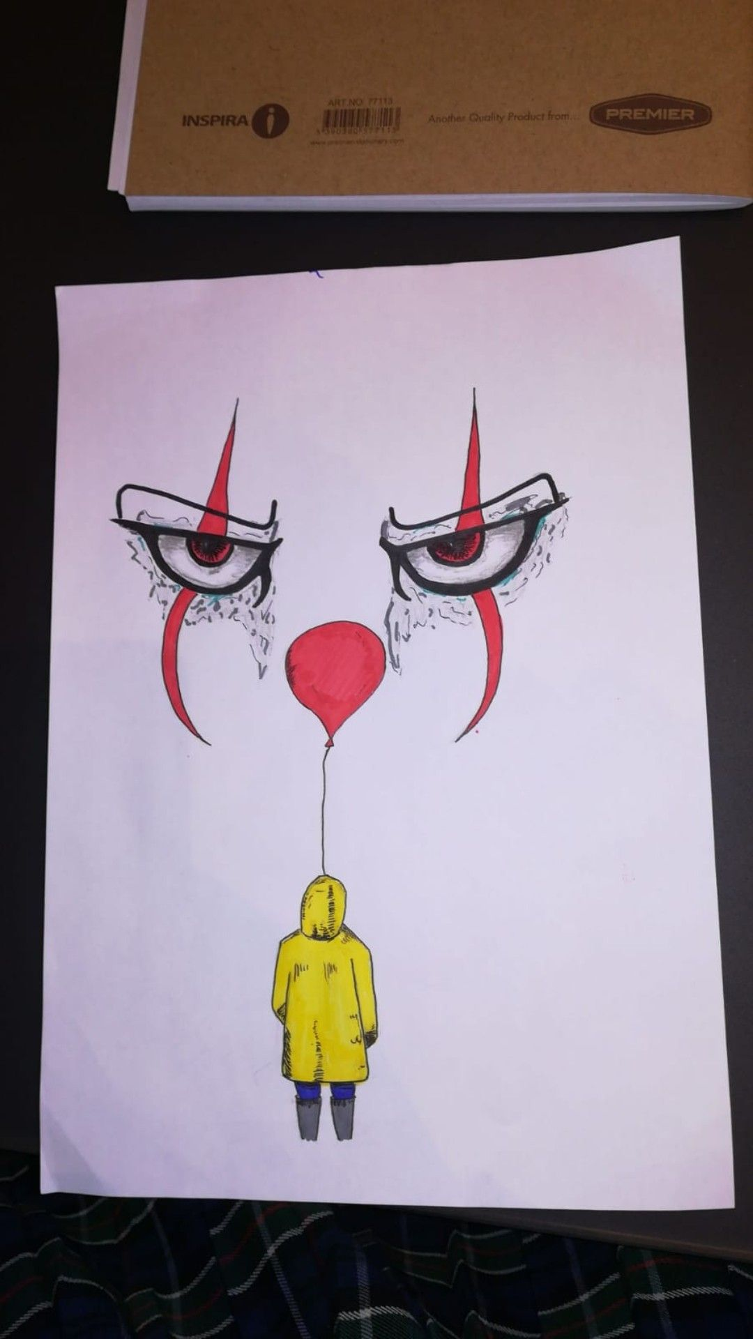 coloured drawing of pennywise and georgie from the horror
