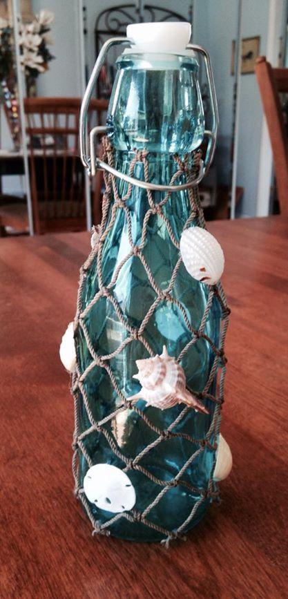 Diy nautical glass vase decor beach glassbottle shells summer diy nautical glass vase decor beach glassbottle shells summer fishnet solutioingenieria Image collections