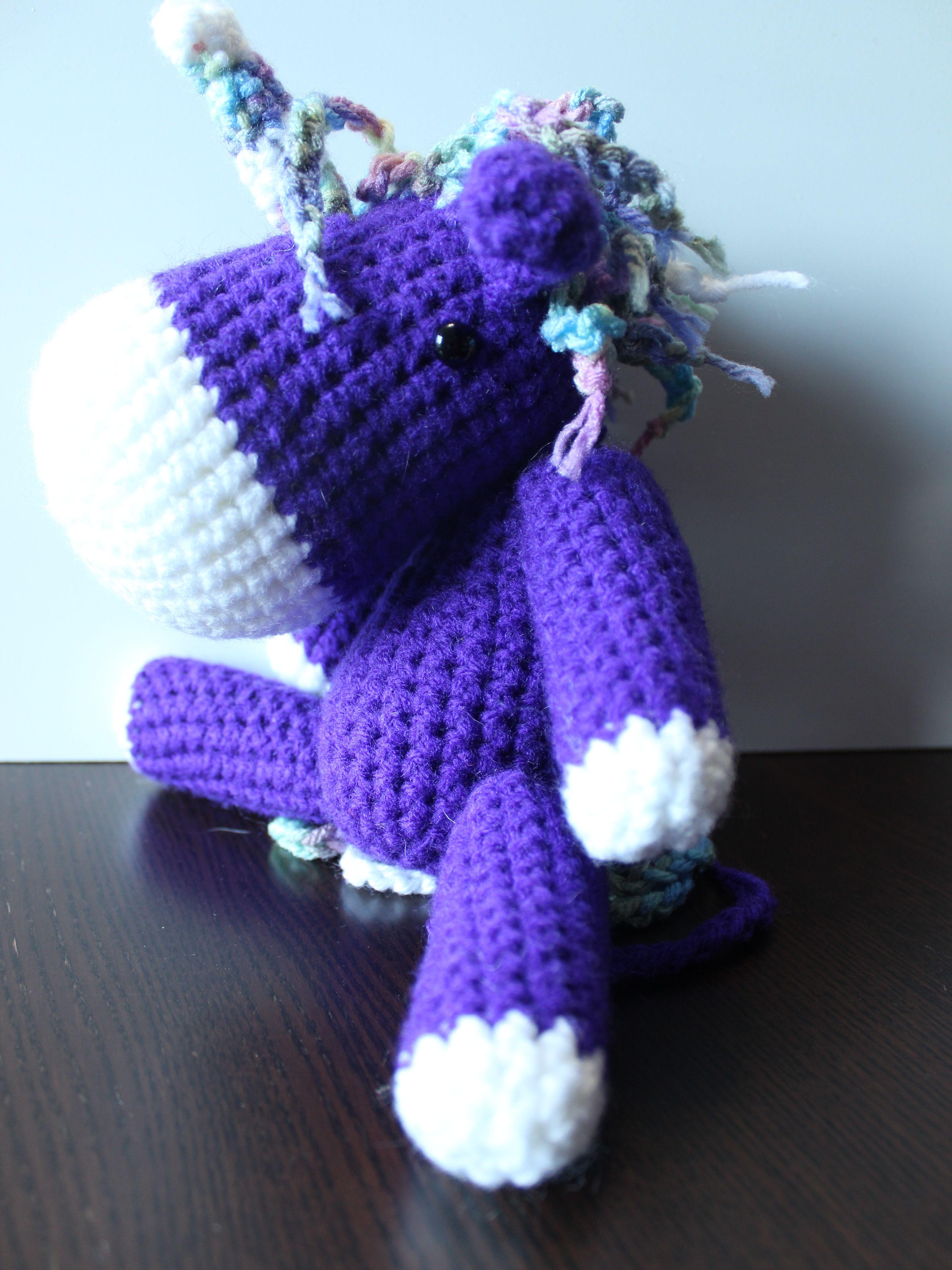 I love the unusual color combo of this unicorn.   crochet amigurumi ...