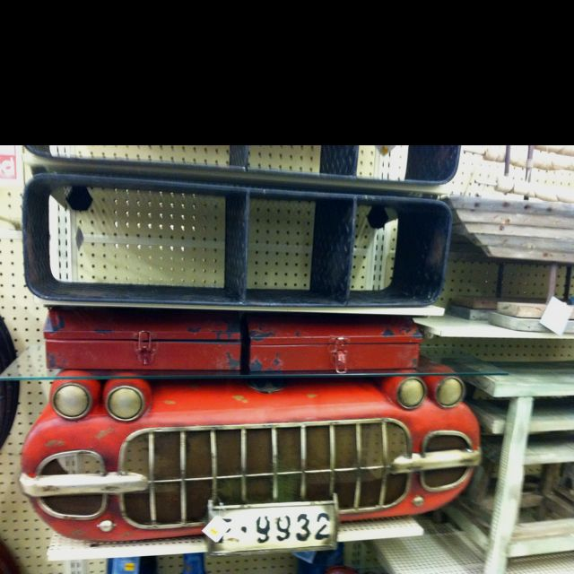 Diamond Plate Shelf; Vintage Car Wall Decor