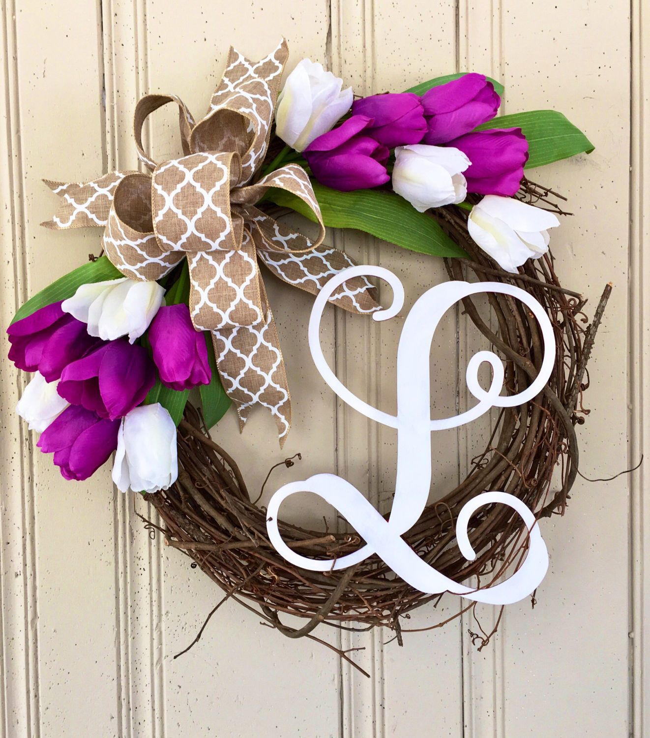 A personal favorite from my Etsy shop https://www.etsy.com/listing/505487102/monogram-wreath-tulip-wreath-spring