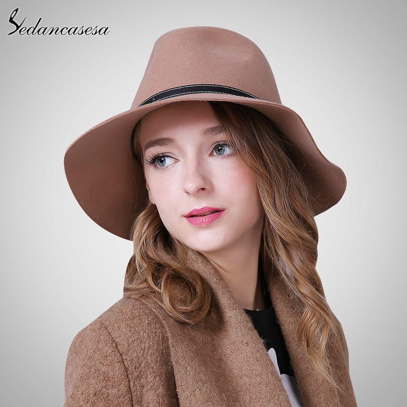 01f91131dfb2b0 Australia Wool Felt Hat England women Fedora Hat wide brim hats for elegant  lady hat Christmas GIfts WOW #shop #beauty #Woman's fashion #Products #Hat