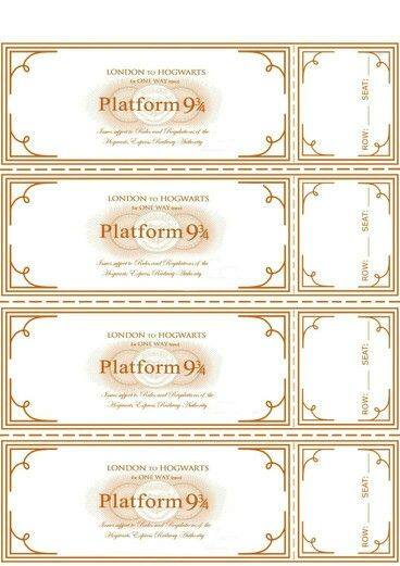 Harry Potter Train Tickets Harry Potter Printables Harry Potter Diy Harry Potter Classroom