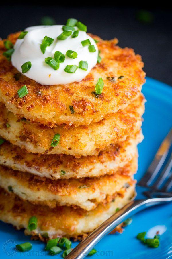 Cheesy Mashed Potato Pancakes Recipe (VIDEO) - NatashasKitchen.com #potatopancakesfrommashedpotatoes