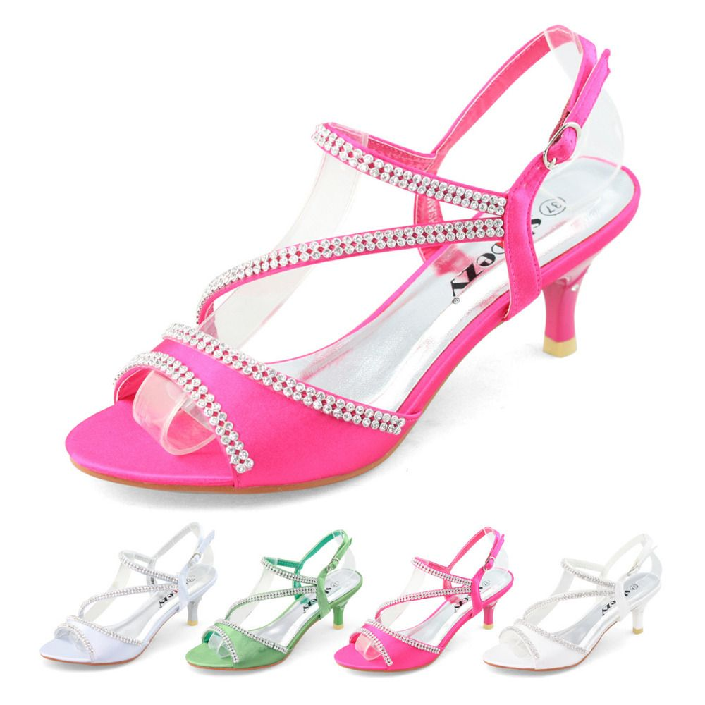 SHOEZY Brand New Low Heel Wedding Party Shoes With Rhinestone Satin Strappy Diamante Sandal Thin Heels