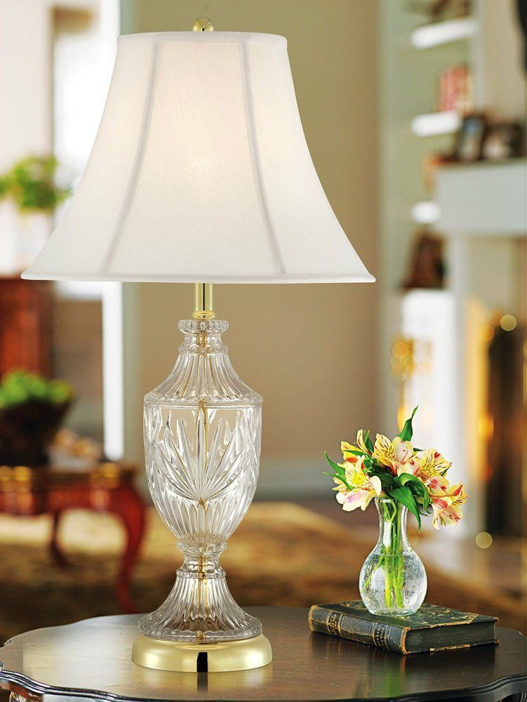 Table Lamp With Glass And Brass Accents Vintage Home Bedroom End Table Hall Room Brass Accent Table Lamp Traditional Table Lamps