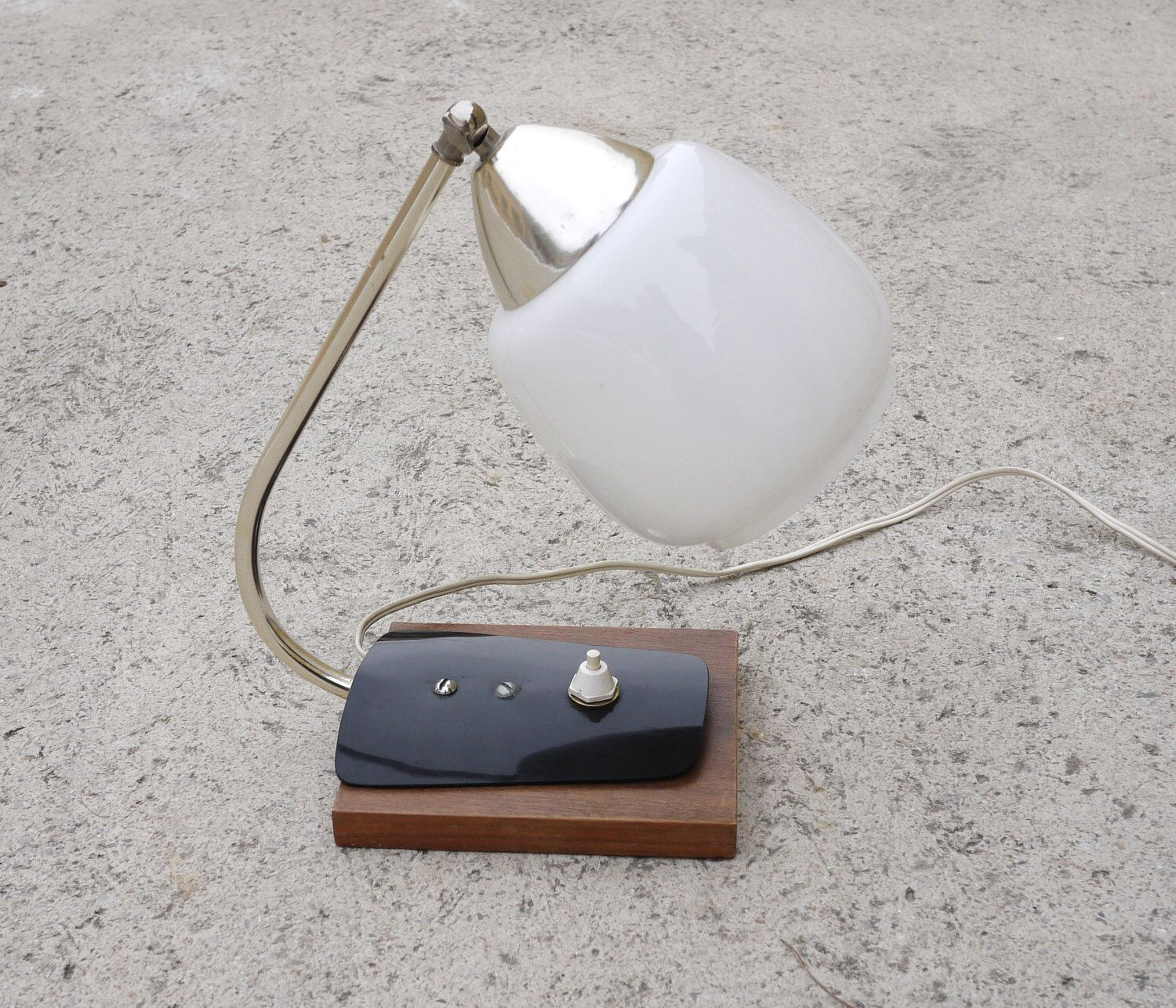 Chrome night lamps - Glass Bedside Lamp White Opaline Glass Shade 1950s Wooden Base Black Plexiglass Adjustable Shade Chrome Stand Night Lamp Diffuse Soft Light