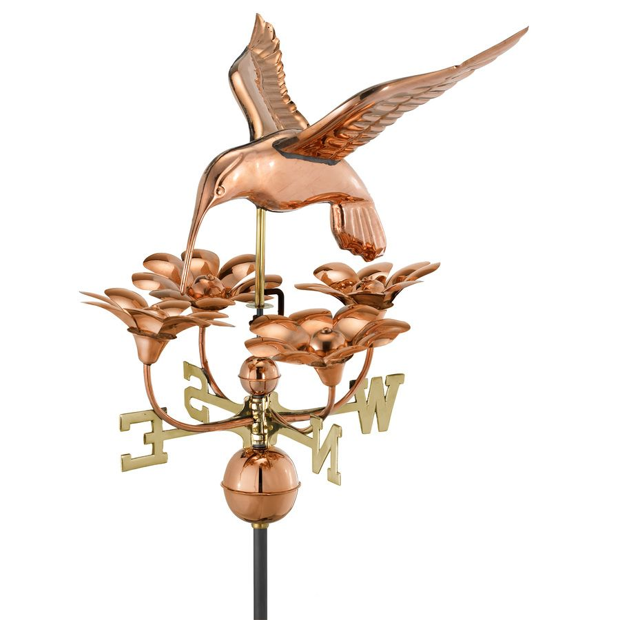 Good Directions Polished Copper Roof Mount Hummingbird With Flowers Weathervane Lowes Com In 2020 Good Directions Weathervanes Weather Vanes