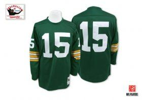 fdb0c803a Mitchell and Ness Green Bay Packers  15 Bart Starr Authentic Green Throwback  NFL Jersey