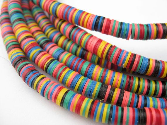 Rainbow Medley Phono Record Beads 5mm - African Vinyl Beads - Jewelry Making Supplies - Made in Ghana + (PHON-DISK-MIX-249)
