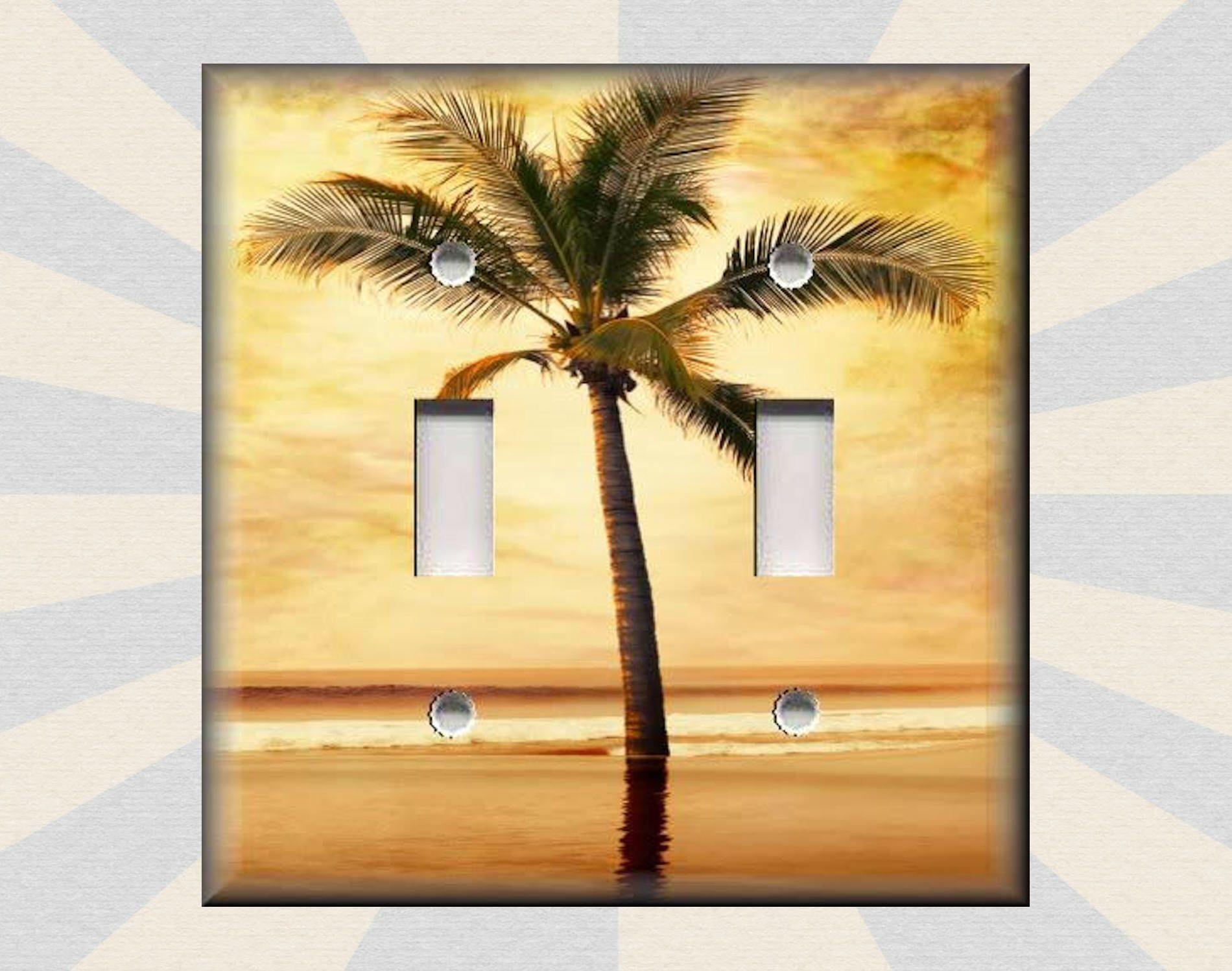 Metal Light Switch Plate Cover - Coastal Decor Palms Tropical Palm ...