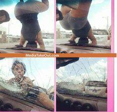 twerking is dangerous! she broke the car windshield