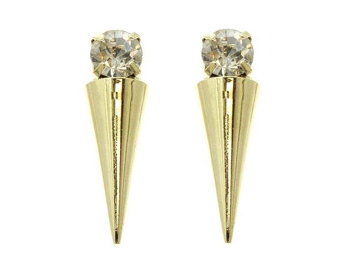 New Arrival! @ www.Style-Struck.com - Gold Crystal Stone Spike Earring Stud, $5.10 (http://www.style-struck.com/Gold-Crystal-Stone-Spike-Earring-Stud-1/)