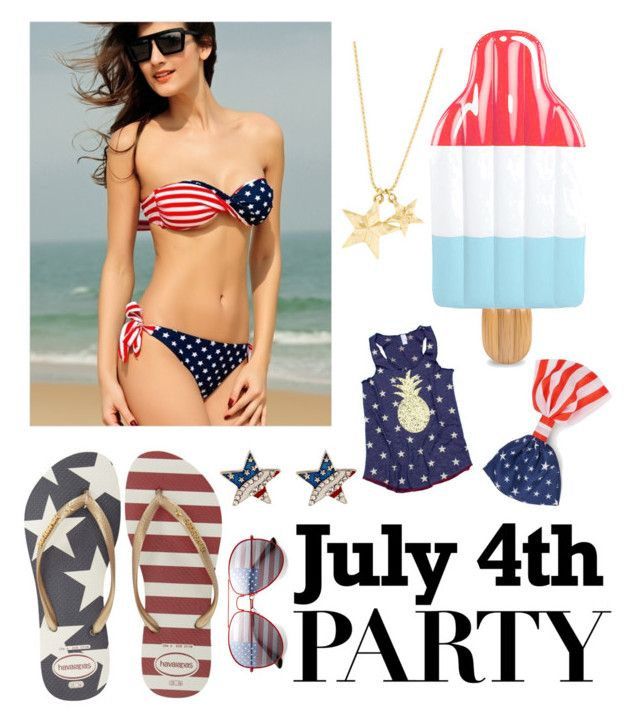 """""""4th of July Party!"""" by caroline-clx ❤ liked on Polyvore featuring Havaianas and poolfloats"""