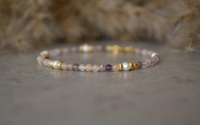 Seven chakra bracelet super 7 crystal 3mm Super Seven bracelet