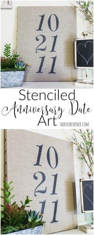 Stenciled Anniversary Date Art http://thekolbcorner.com/stenciled-anniversary-date-art/