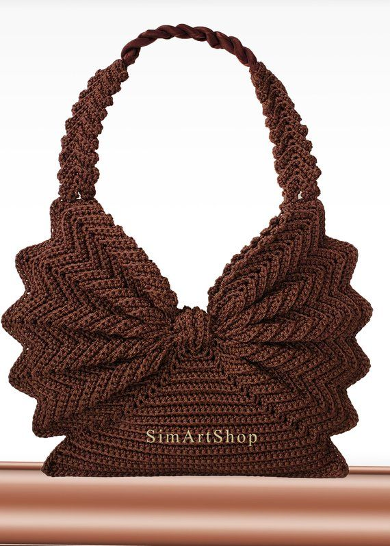 Crochet handbag,Crochet tote,Vintage style purse,Retro handbag,Unique bag,Butterfly bag,Brown bag,Free EXPRESS Shipping