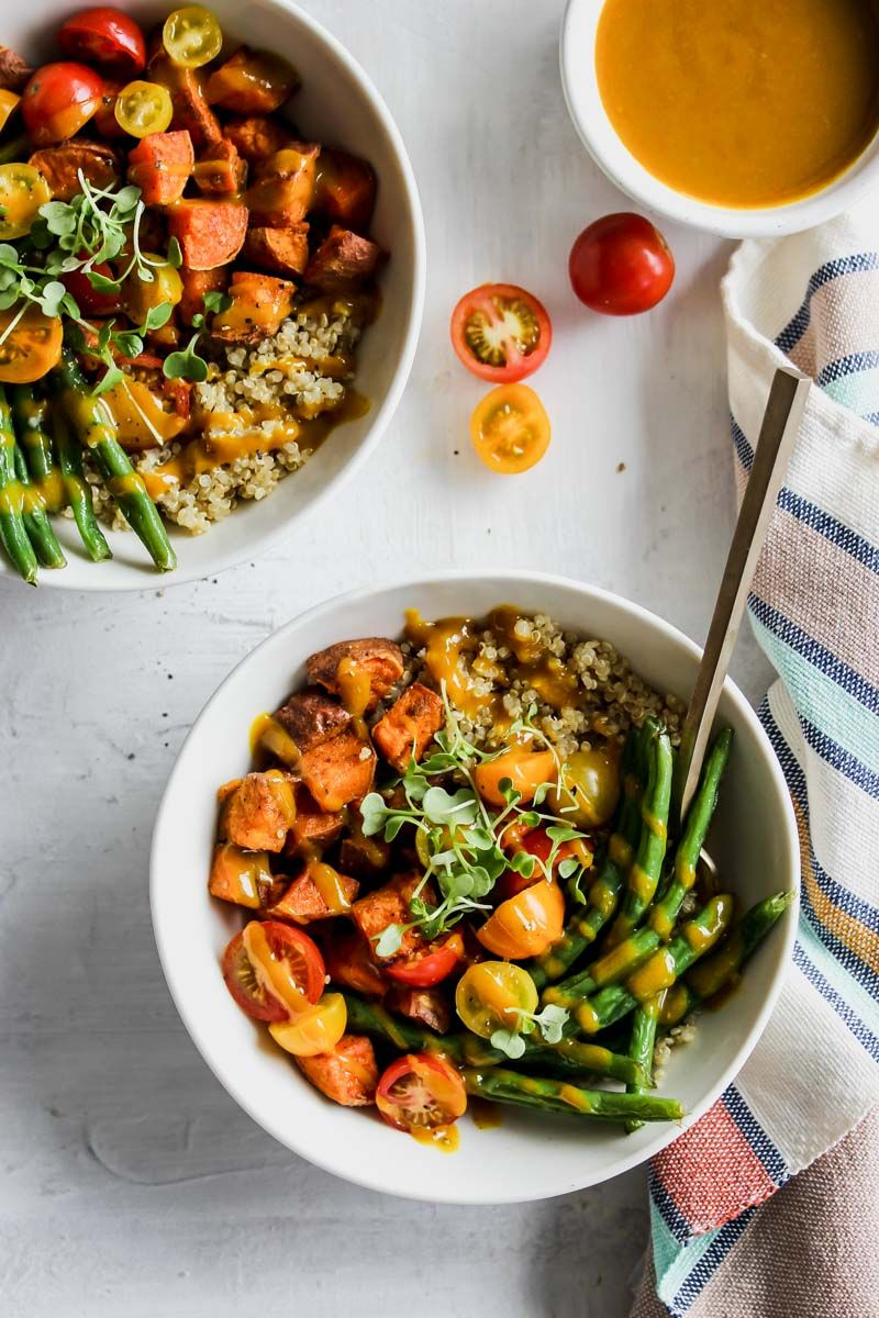 Sweet Potato Grain Bowls With Turmeric Honey Mustard