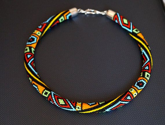 Bead crochet necklace with geometric pattern - Colorful summer ...