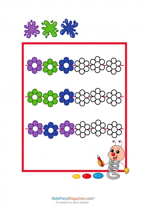 Pattern Worksheet Color Fill In 2