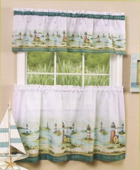 Lighthouse Kitchen Decor | Lighthouse Nautical Cafe Tier U0026 Valance Curtain  Set Aqua Blue White .