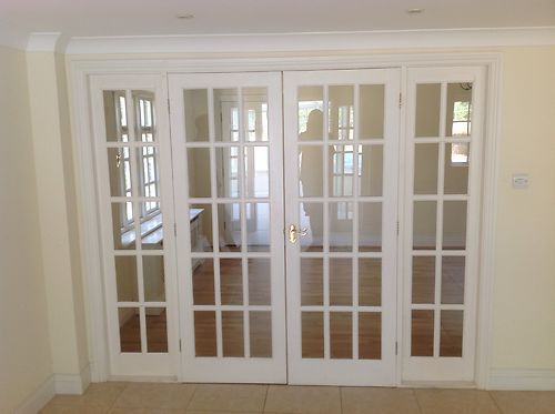 White 15 glass panel internal french doors frame - How wide are exterior french doors ...