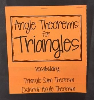 Triangle sum theorem exterior angle theorem foldable - Which of the following are exterior angles ...