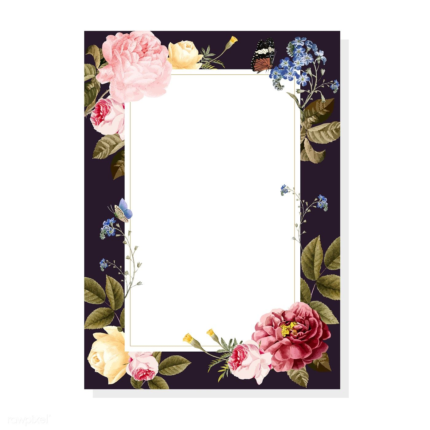 Download Premium Vector Of Blank Floral Frame Card Illustration 471690 Fondos Para Tarjetas Tarjeta De Casamiento Invitaciones