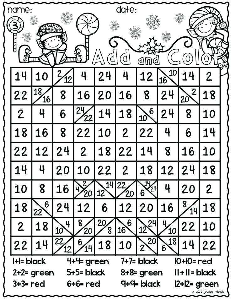 christmas math coloring pages worksheets printable unique