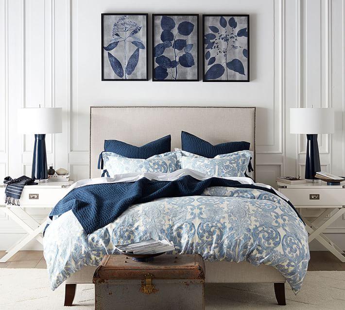 Indigo Silver Leaf Framed Prints Pottery Barn Bedroom Design Master Bedrooms Decor Blue Rooms