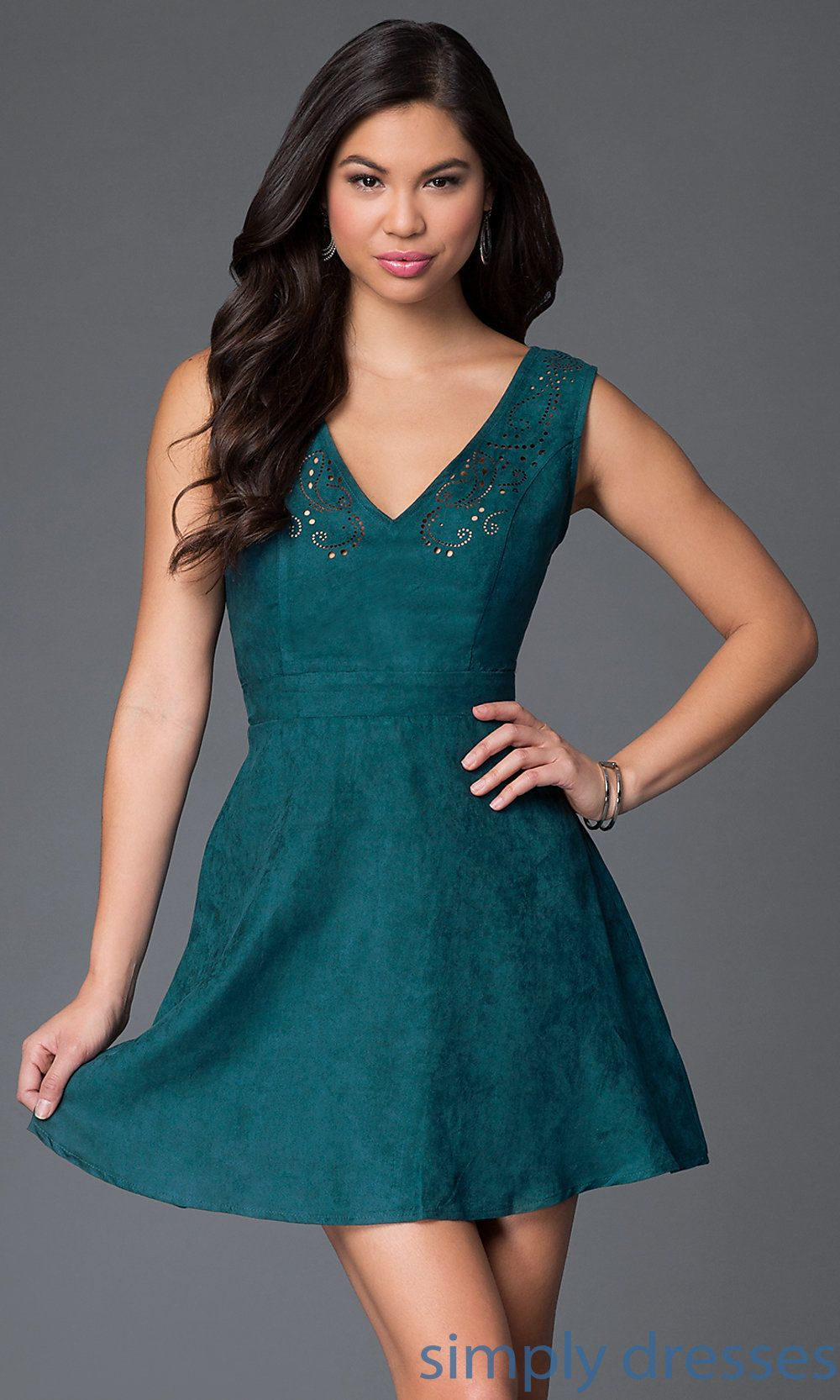 Backless Suede Hunter-Green Short Dress SY-ID2914 | Dresses&shoes ...