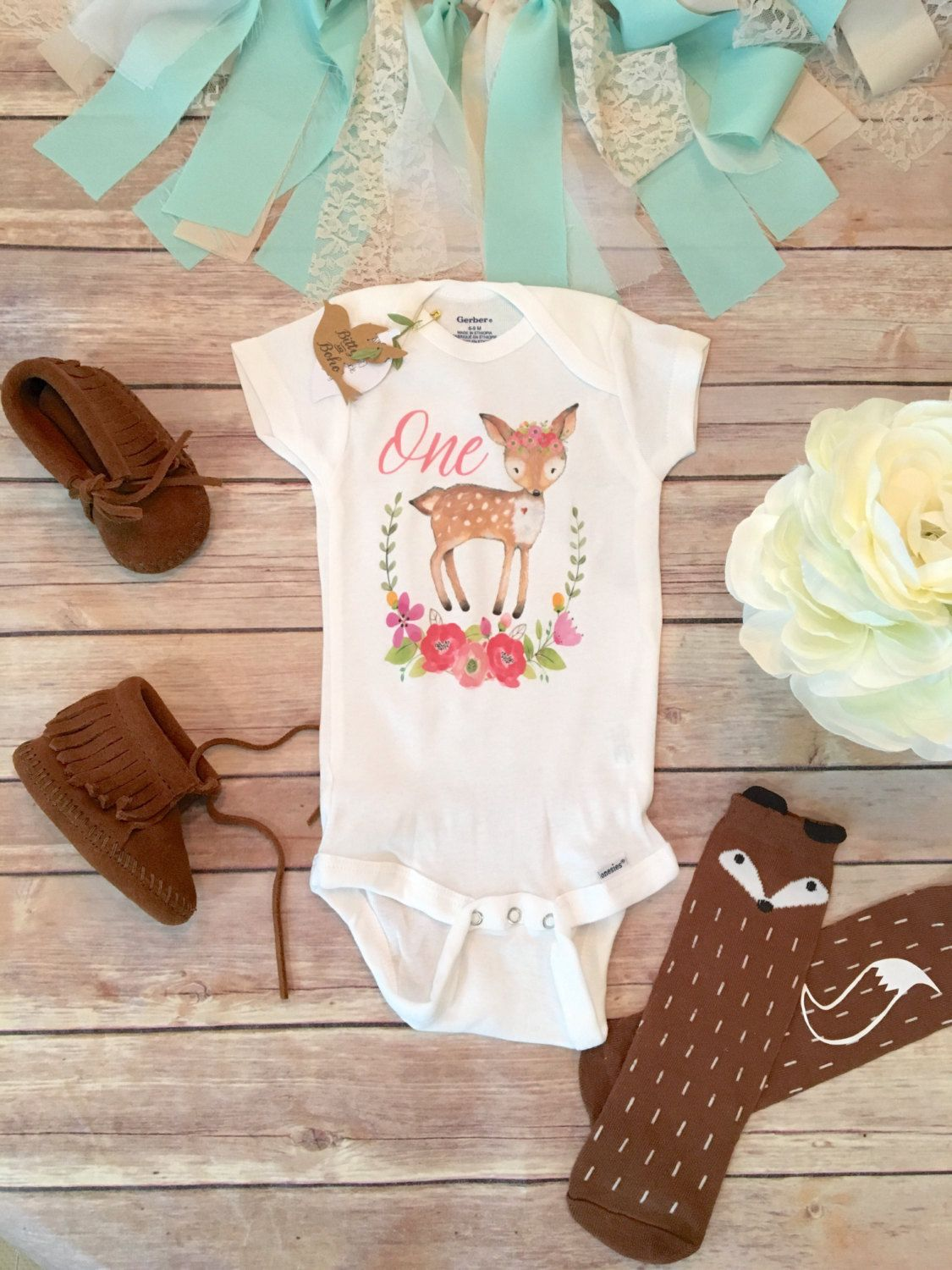 One Baby Bodysuit, First Birthday Outfit Girl, Birthday Onesie, Baby Girl Clothes, Girl Deer Onesie, Boho Baby Clothes, Cute Baby Clothes