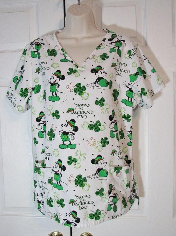 a45bc991558 Disney Mickey Mouse St. Patrick's Day Scrub Top Shirt M Shamrock Luck Women  #Disney