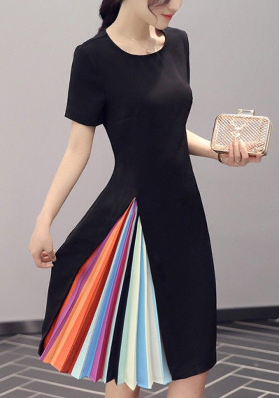 Black Plain Pleated Round Neck Fashion Polyester Midi Dress