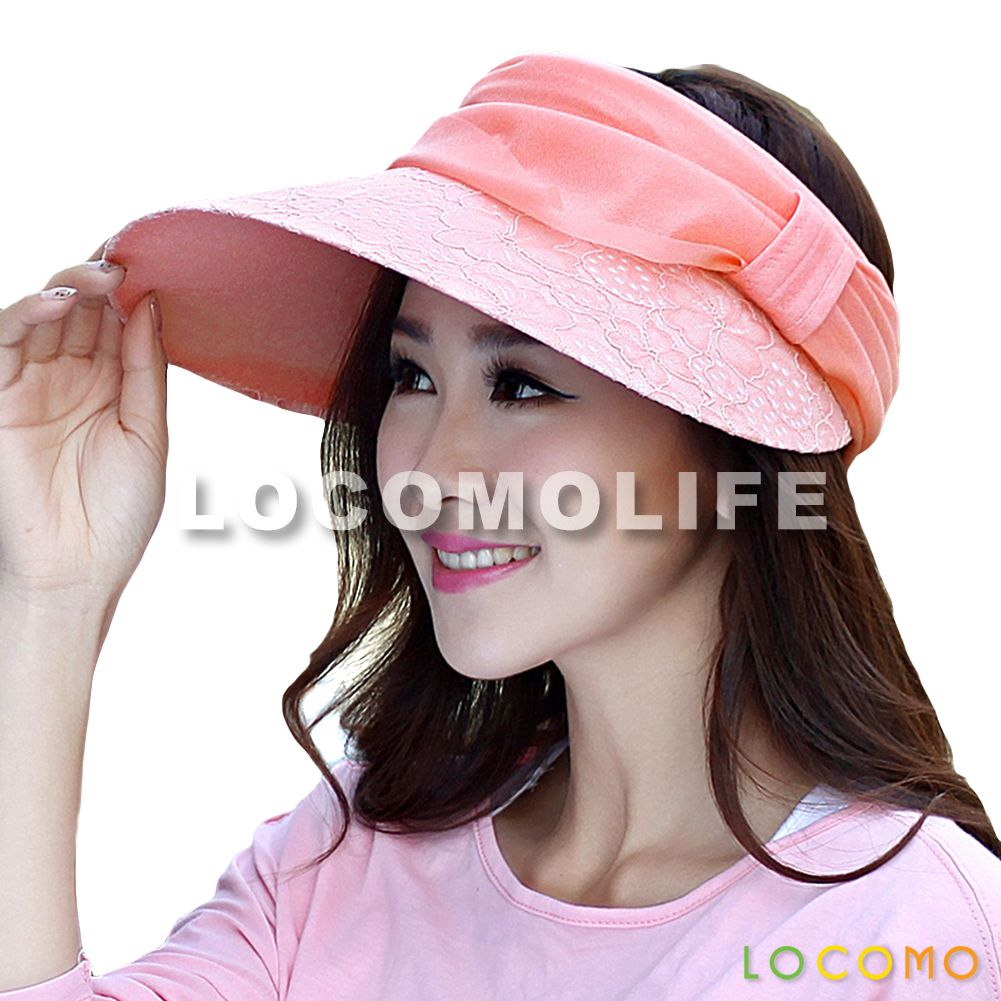 Women Girl Floral Mesh Chiffon Strap Open Top Visor Cap Pink ... b1617b386e72