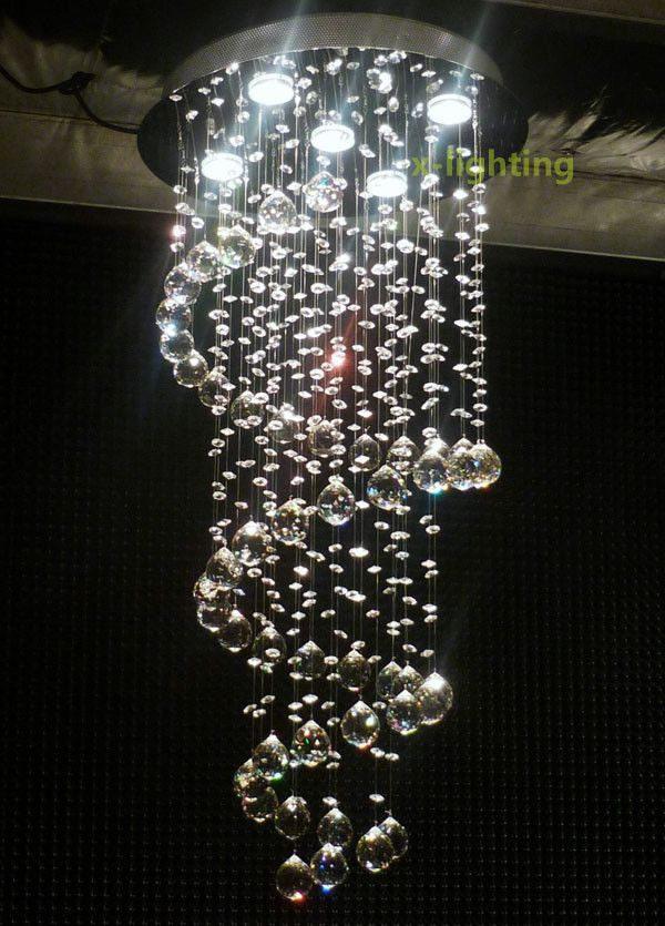 Modern Crystal Pendant Lamp Ceiling Light Spiral Lighting Rain ...