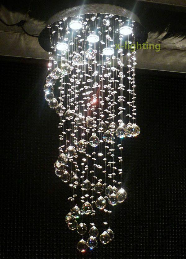 Modern Spiral Crystal Chandeliers Pendant Ceiling Led Lamp Art Deco Lighting