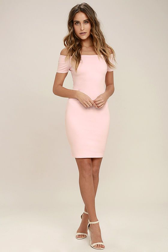 63e31e566352 You re sure to get more than a handful of numbers over the course of a  night spent in the Me Oh My Blush Pink Off-the-Shoulder Bodycon Dress!