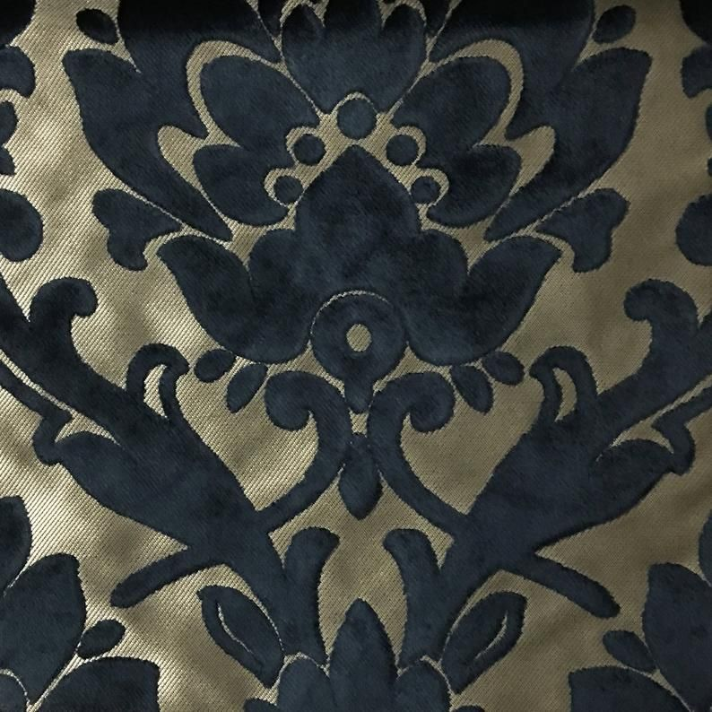 Upholstery Fabric - Radcliffe - Navy - Lurex Burnout Velvet Damask Upholstery & Drapery Fabric by the Yard - Available in 23 Colors