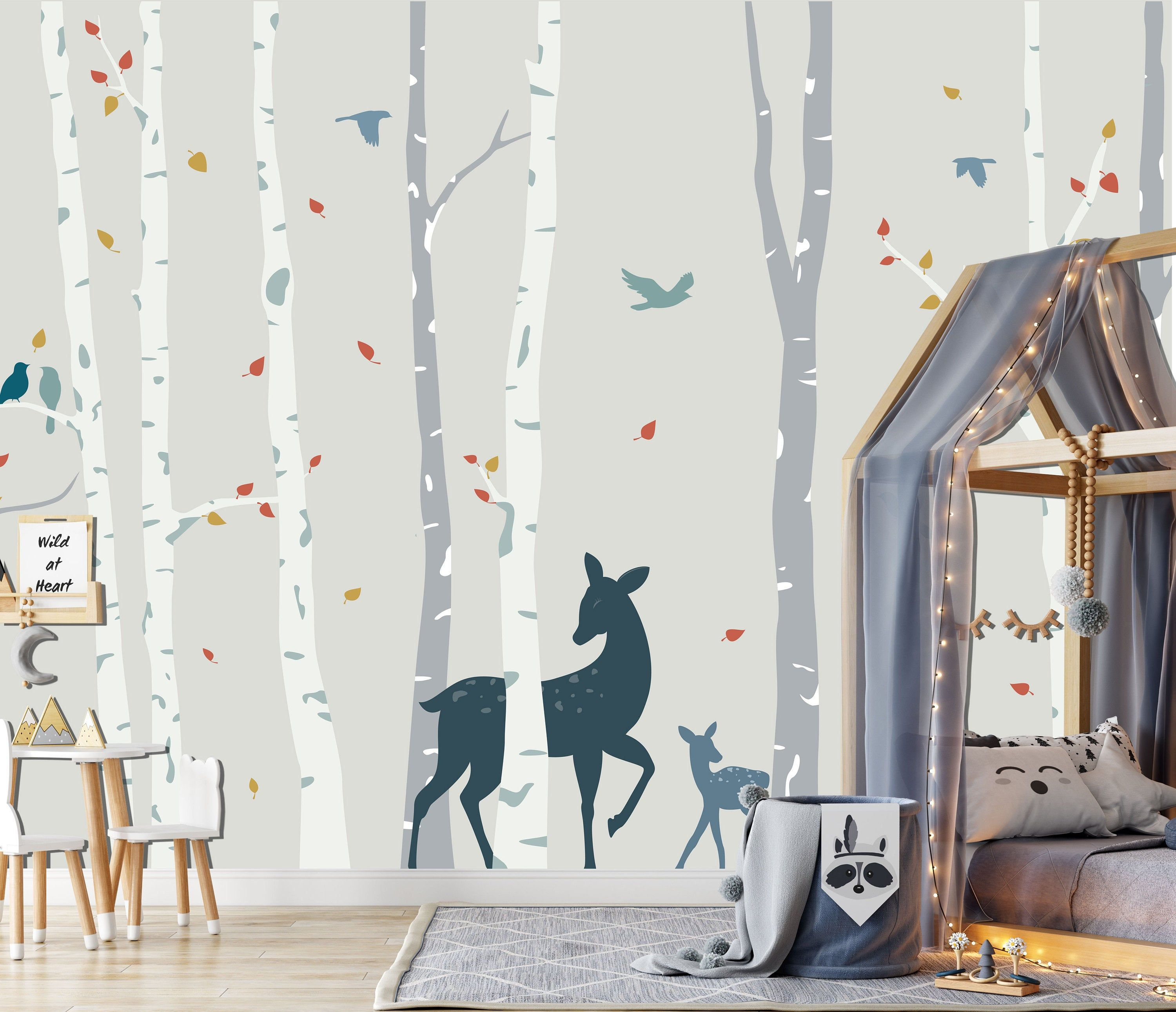 Birch Forest In Soft Colors Wall Mural Kids Woodland Scene Etsy In 2021 Wall Colors Kids Wall Murals Wallpaper Walls Decor