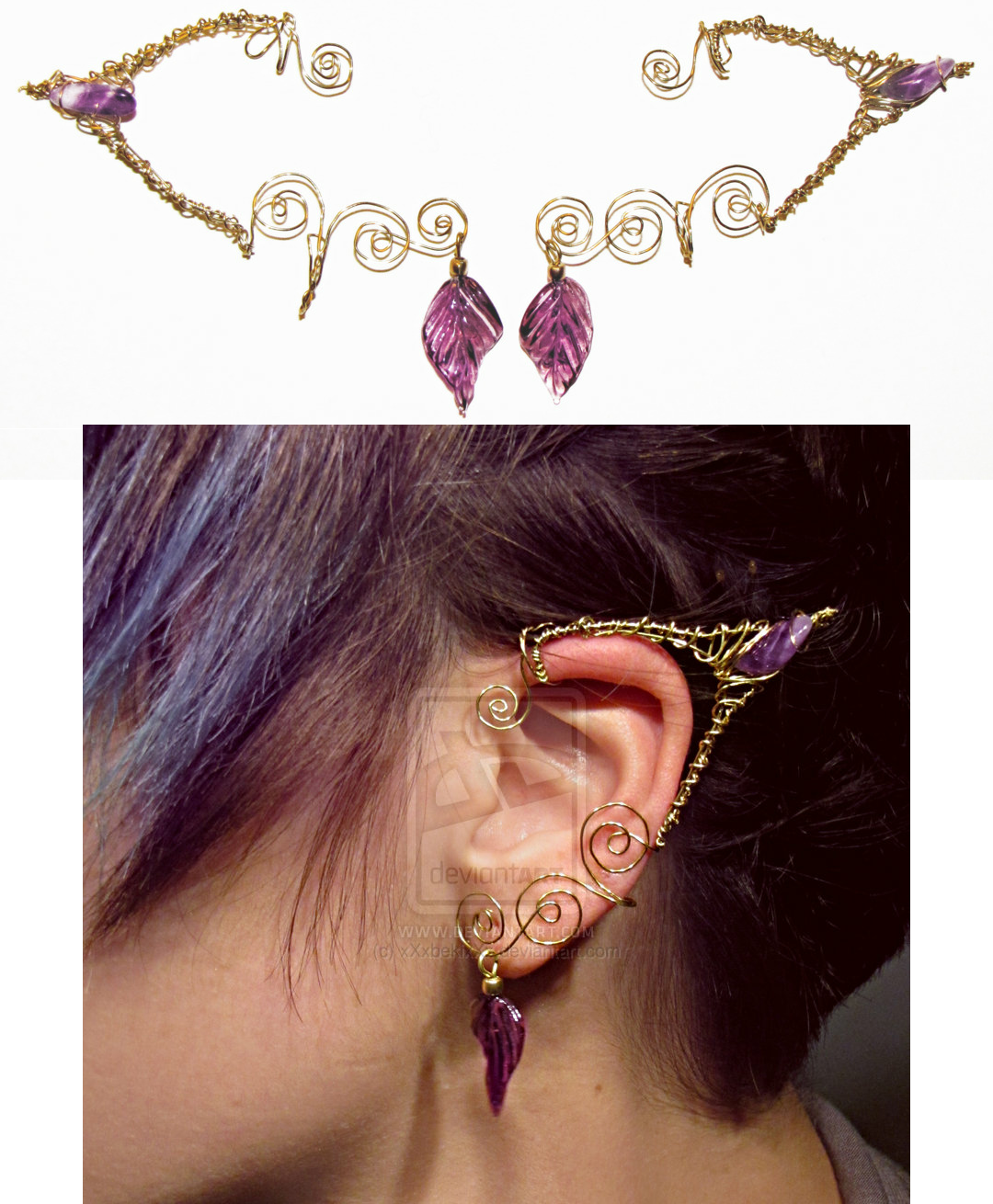 Wire wrapped elf ear cuffs in gold and amethyst how great would wire wrapped elf ear cuffs in gold and amethyst how great would these be baditri Choice Image