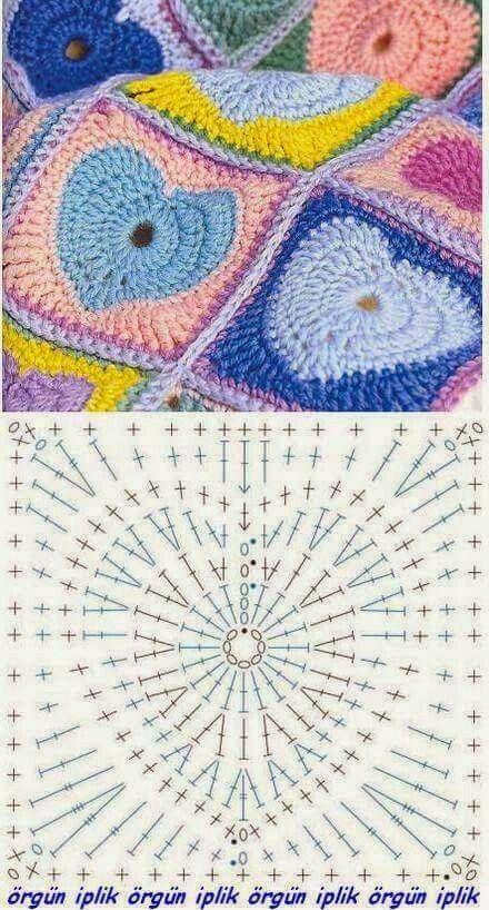 Granny heart crochet square | Crochet - Squares, Triangles, etc ...