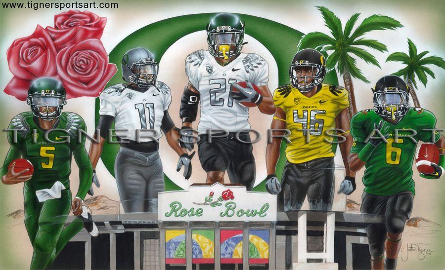 2012 Oregon Ducks Football Rose Bowl Painting Darron