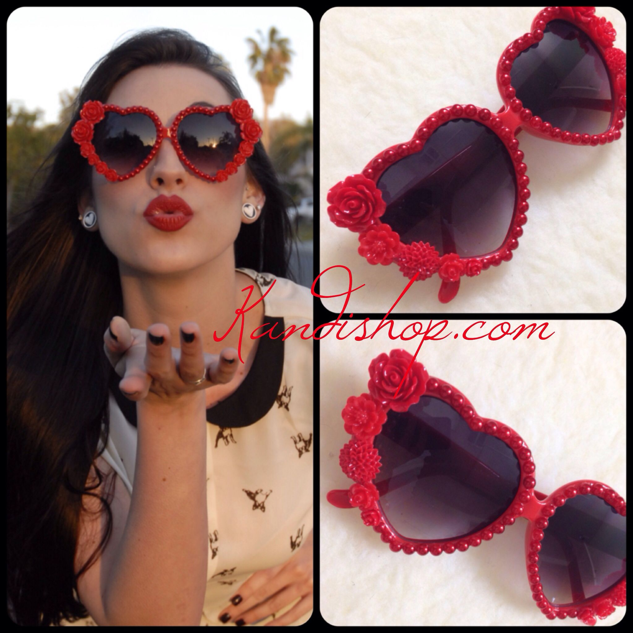 335eda85ee Red floral heart shaped sunglasses at kandishop.com!