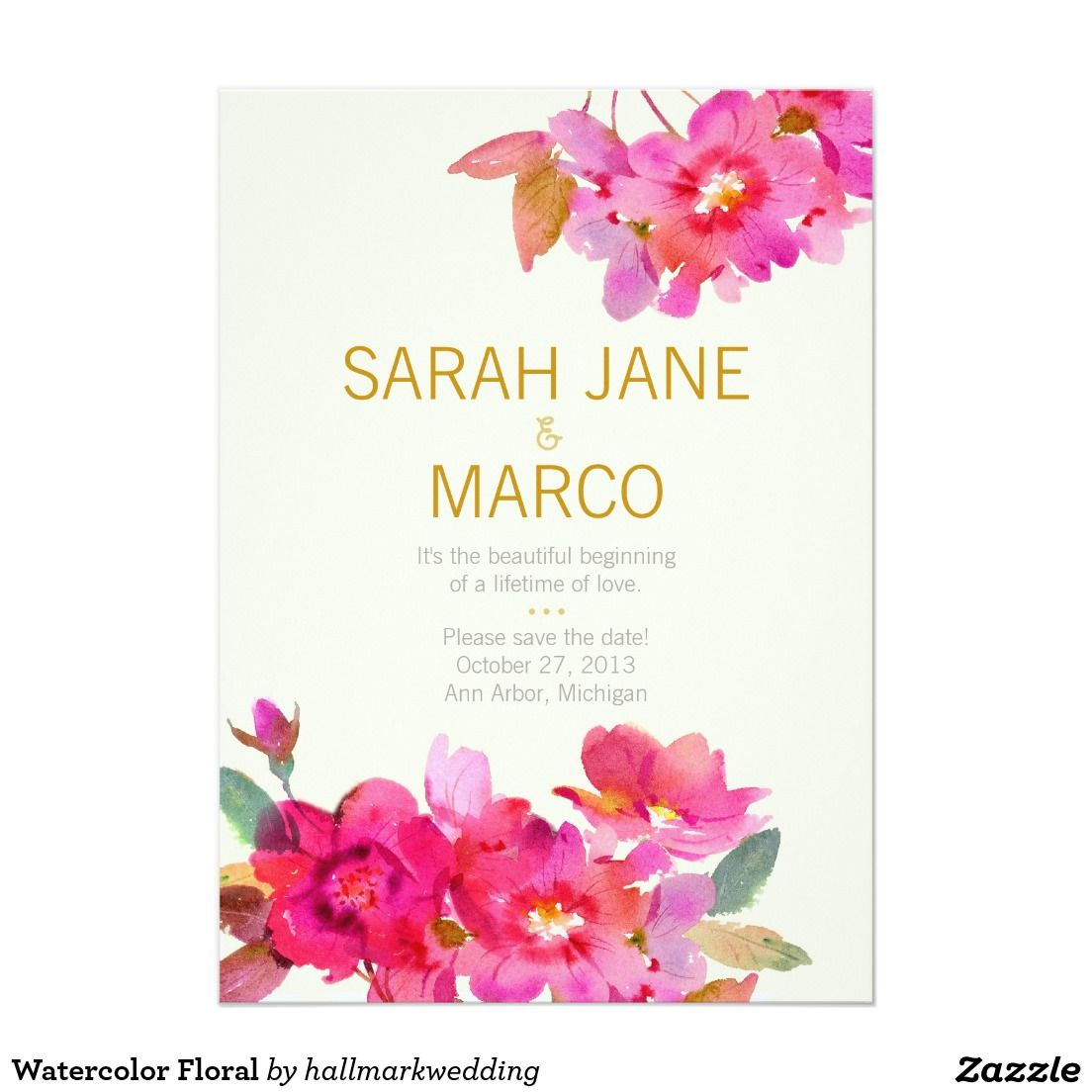 Watercolor Floral 5x7 Paper Invitation Card. Artwork Designed By Hallmark  Wedding. Price $2.01 Per