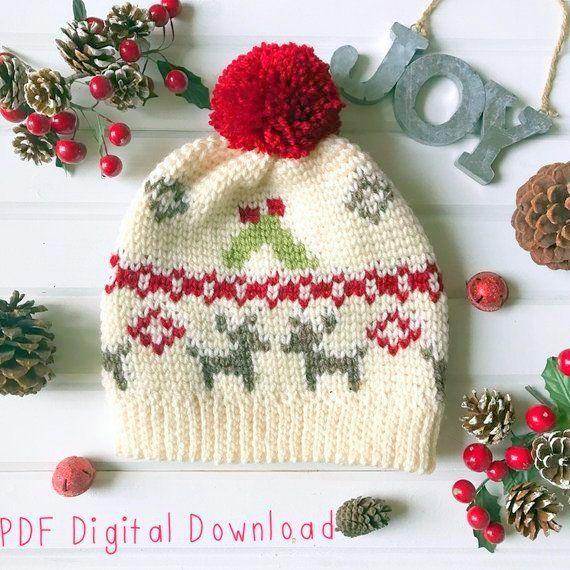 Reindeer Hat Crochet Pattern Crochet Christmas Hat Christmas