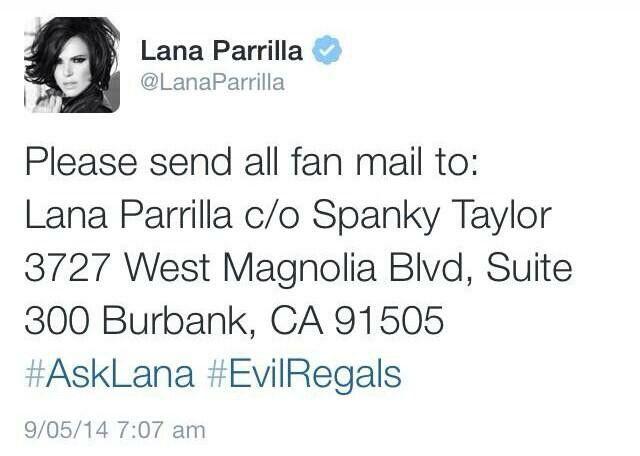 Lana S Fan Mail Address Lana Parrilla Lana Evil Queen
