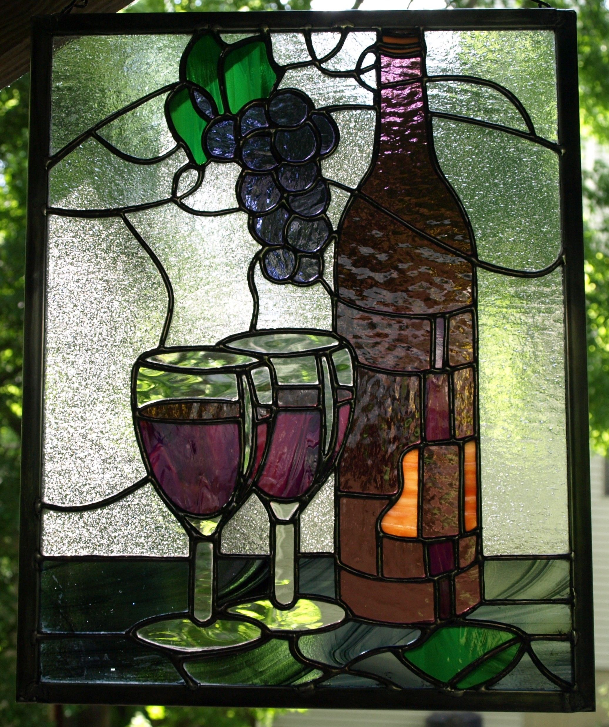 Wine bottle and glasses with grapes | Stained Glass Bottoms Up ...